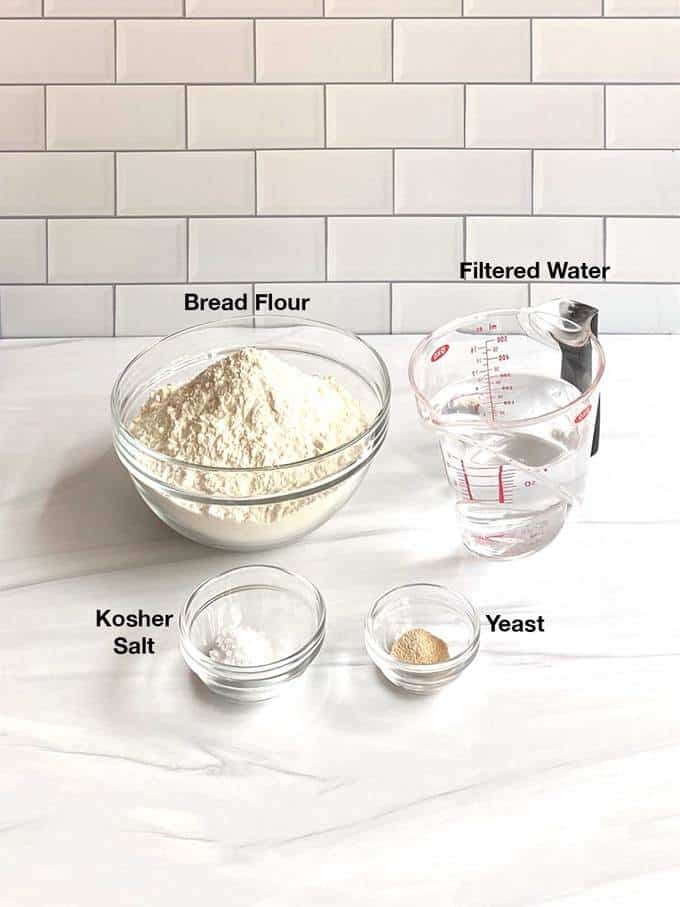 Ingredients for no-knead bread