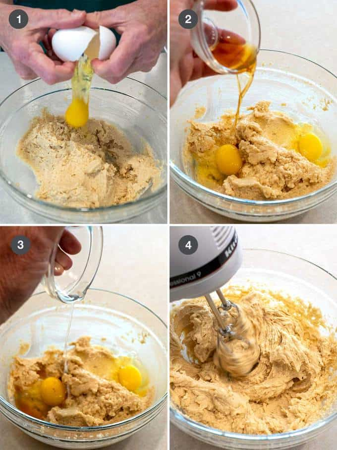 Adding liquids to butter/sugar mixture and beating until light and fluffy