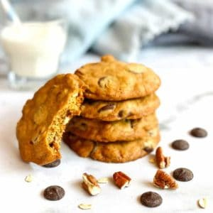Doubletree chocolate chip cookies stacked with milk