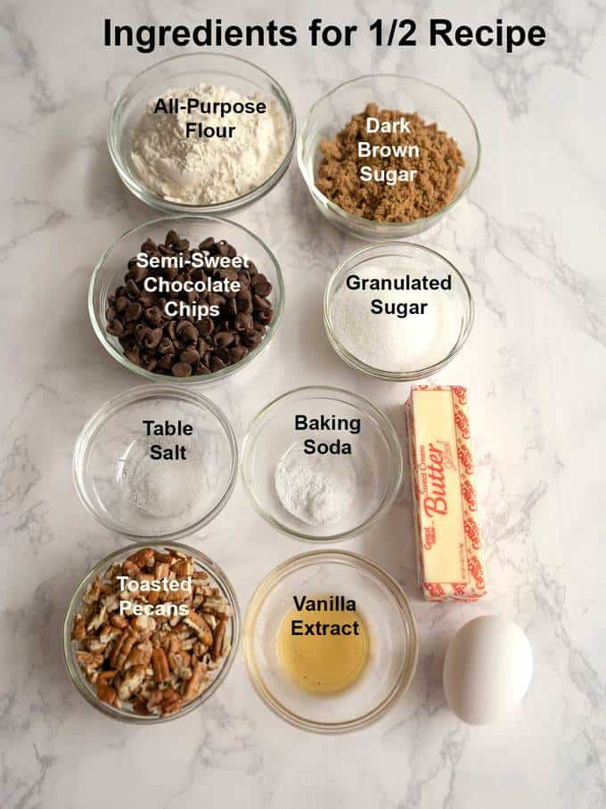 Ingredients for half the recipe of chocolate chip cookies