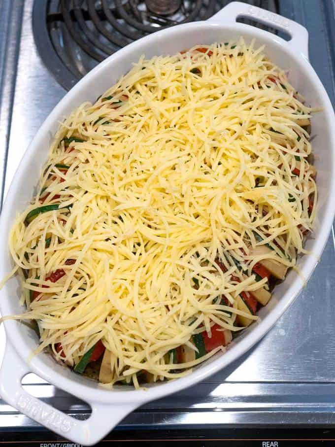 Cheese sprinkled on top of vegetables