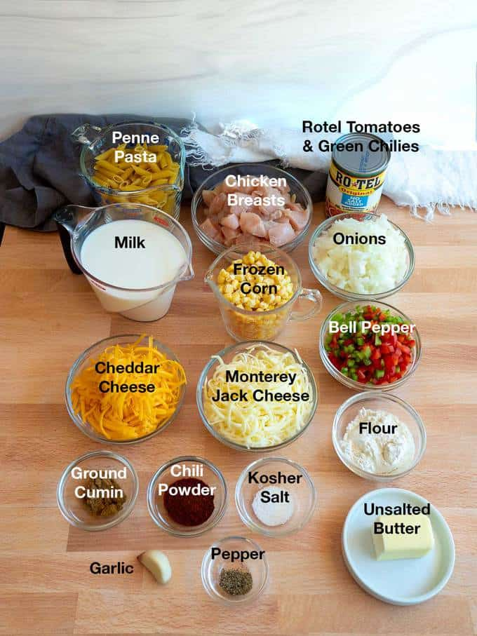 Ingredients for Southwestern Chicken Pasta