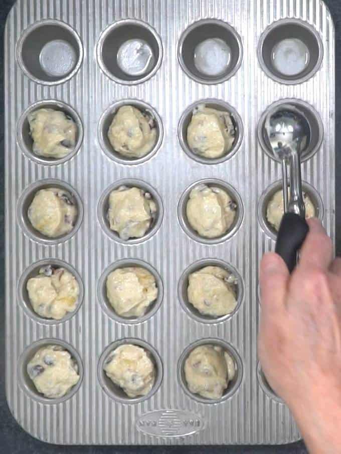 Addig Batter to mini muffin pan