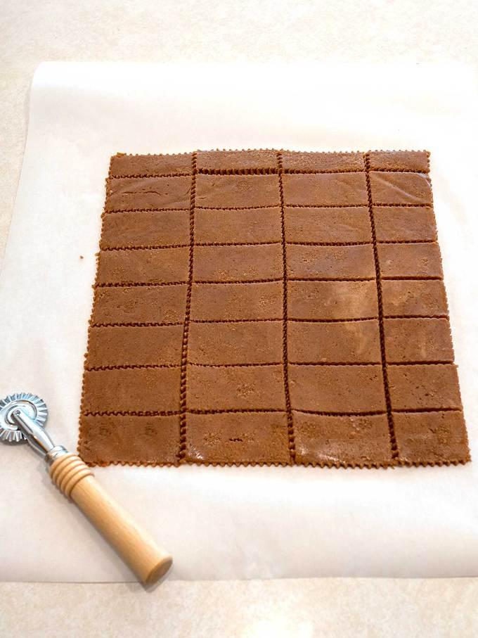 Cookie dough cut into 32 pieces