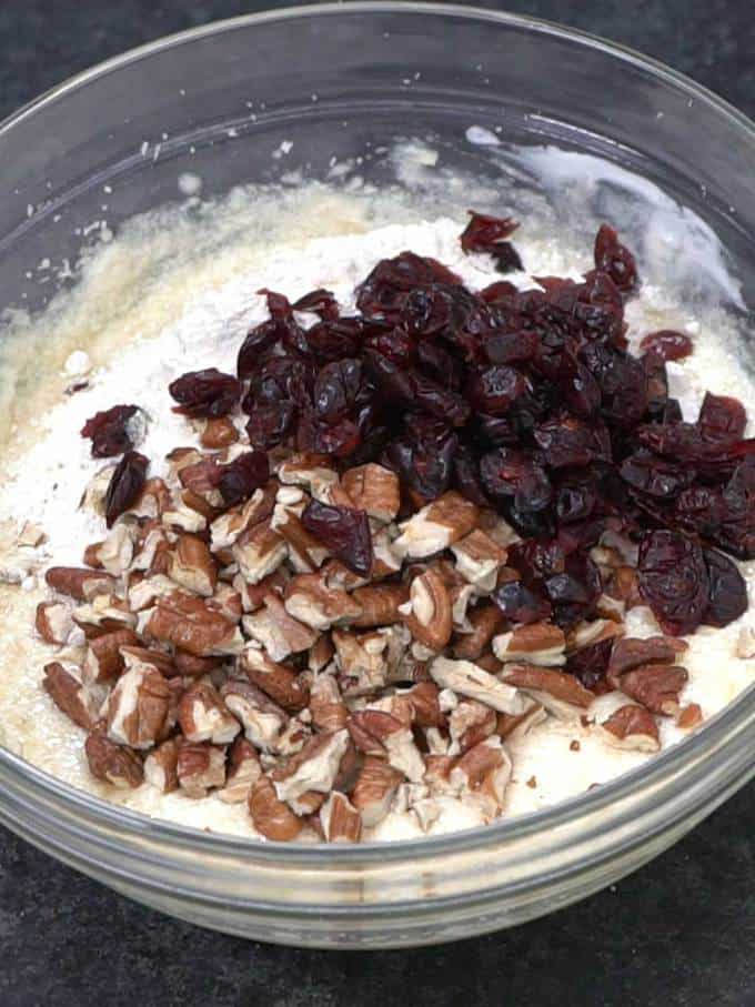 Flour, pecans and Craisins added to batter.