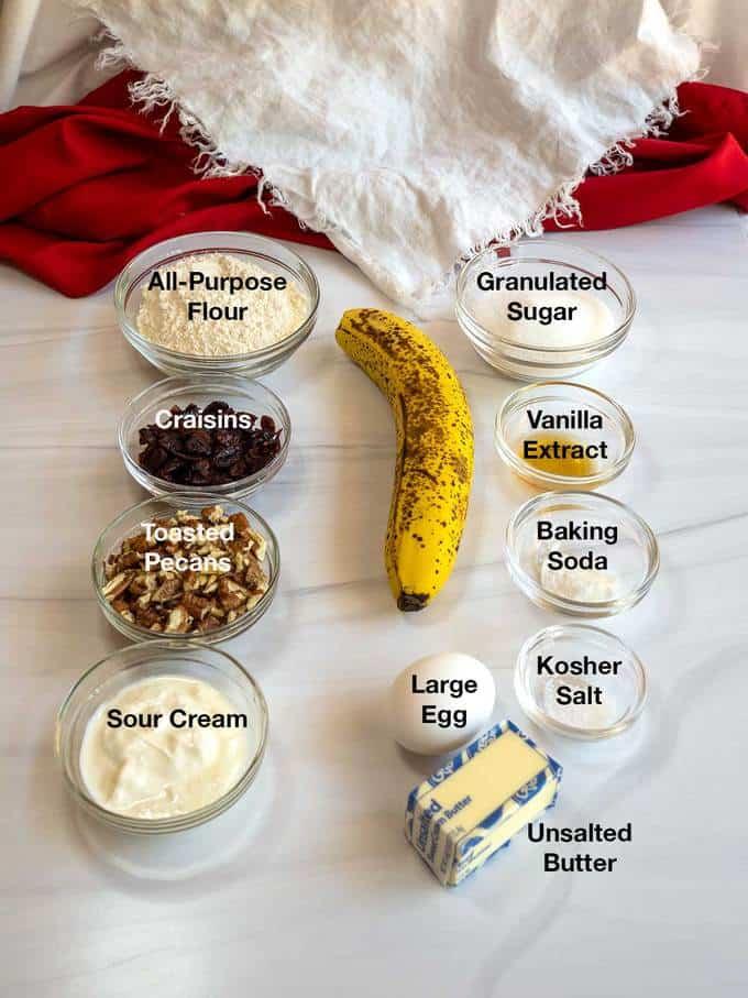 Ingredients for Banana Craisin Mini Muffins