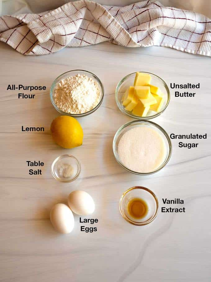 Ingredients for Madeleines