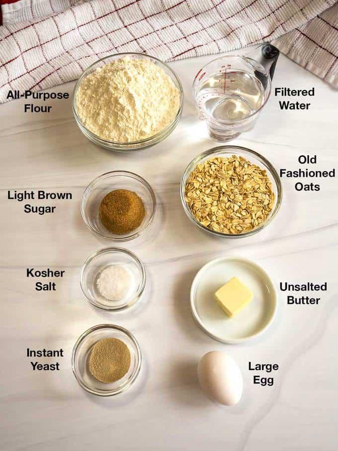 Ingredients for making oat rolls