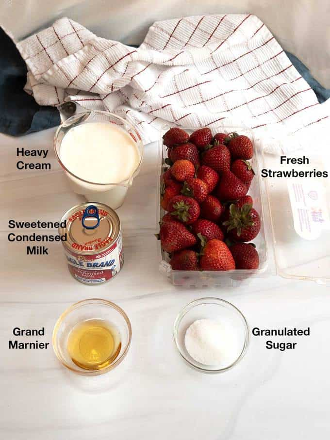 Ingredients for No-Churn Roasted Strawberry Ice Cream