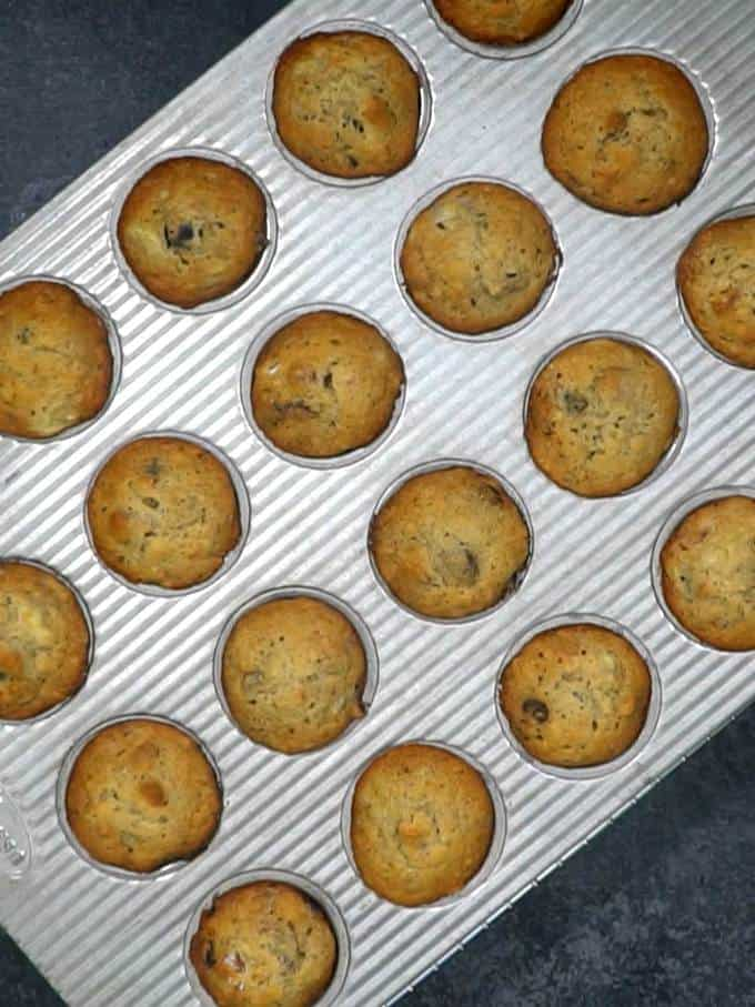 Banana Craisin Mini Muffins Out of Oven