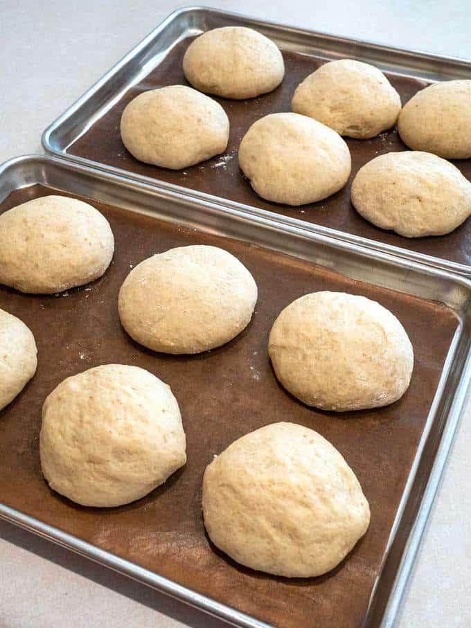 Risen Oat Rolls ready for oven