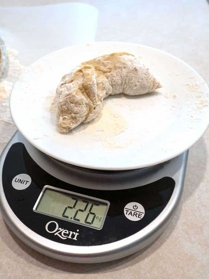 Weighing the pieces of dough
