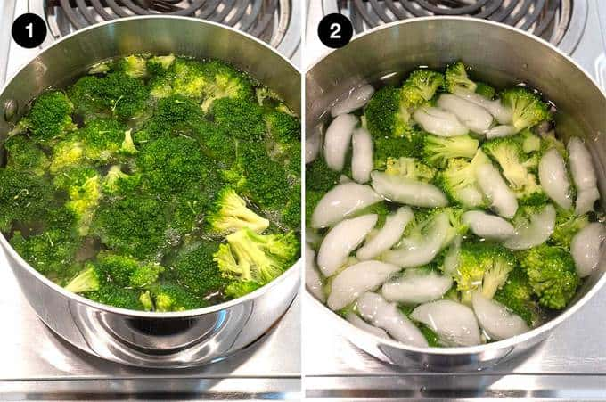 Blanching and cooling broccoli