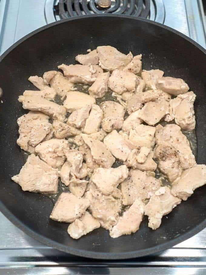 Cooking the chicken in a skillet over medium heat
