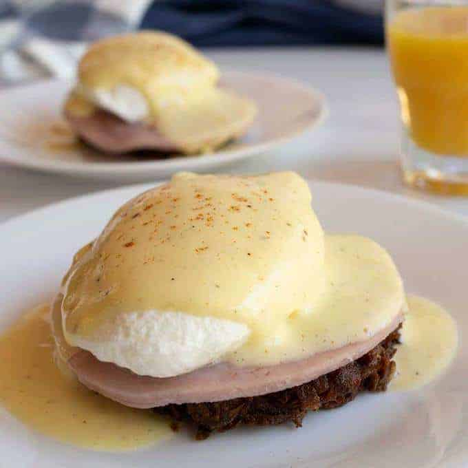 Eggs Benedict on Hash Brown Rounds