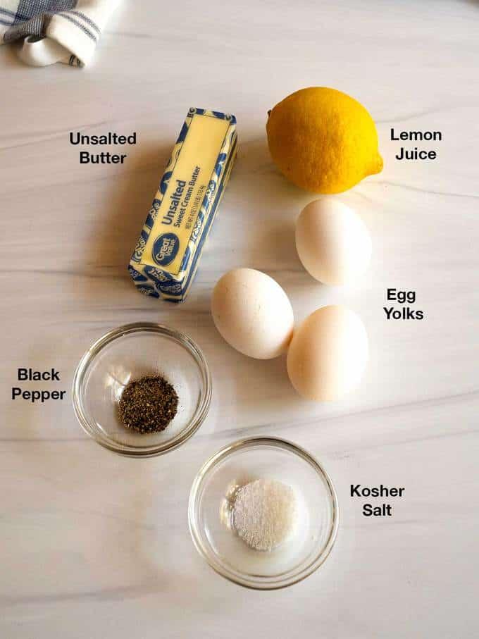 Ingredients for Blender Hollandaise Sauce
