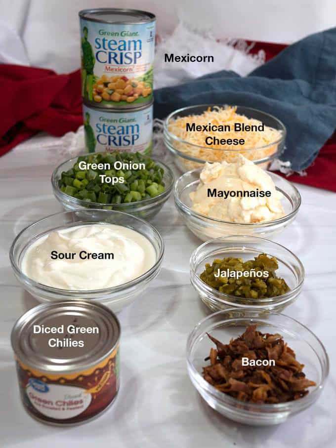 Ingredients for Mexican Corn Dip