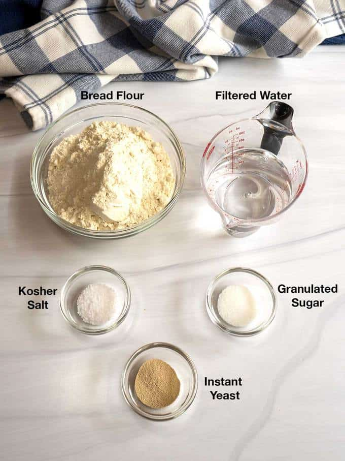 Ingredients for crusty baguettes