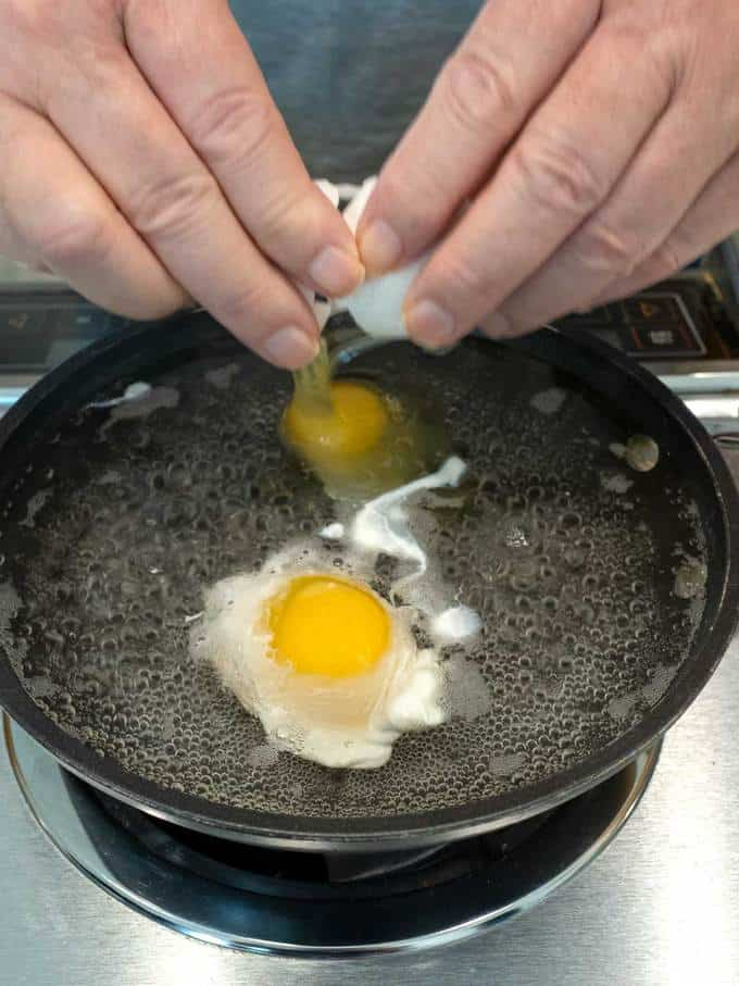 Making the poached eggs.