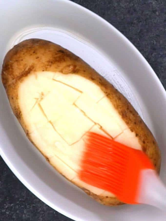 Brushing the Potato with Olive Oil