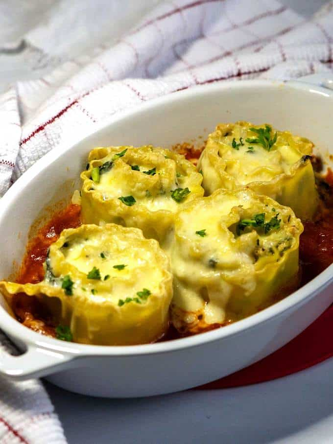 Chicken Lasagna Ruffles with melted mozzarella cheese
