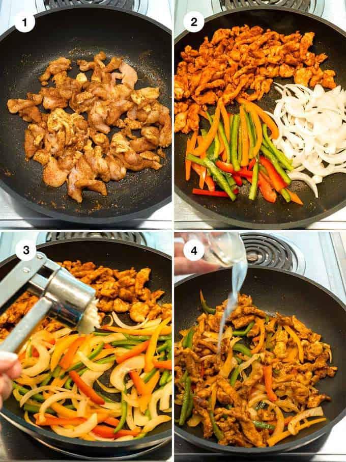 Making the chicken fajita mixture