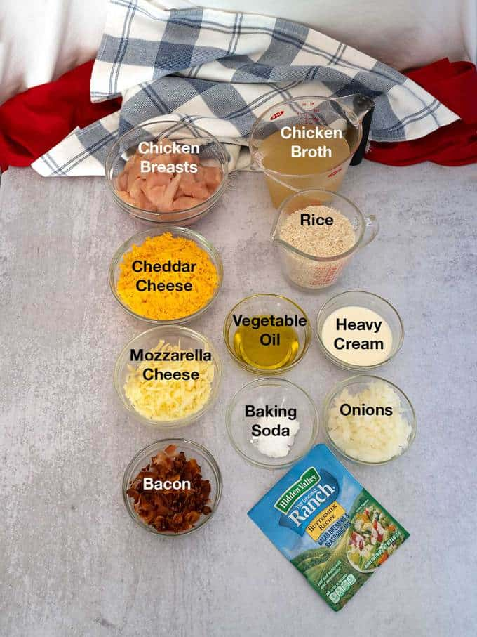 Ingredients for chicken bacon ranch casserole