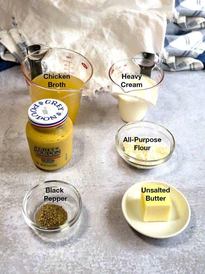 Ingredients for Mustard Cream Sauce