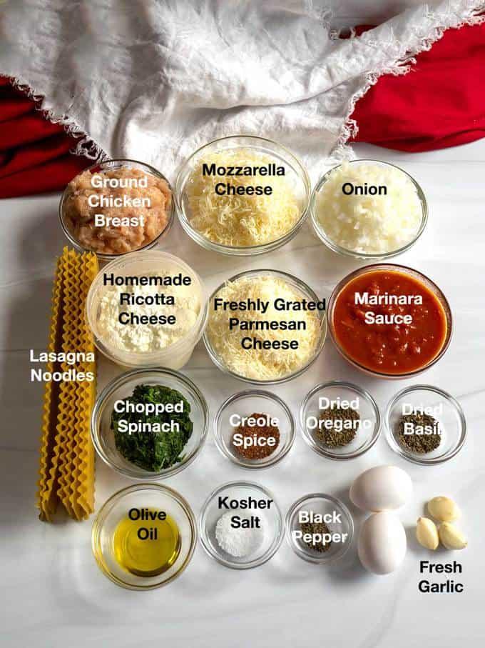 Ingredients for Chicken Lasagna Ruffles