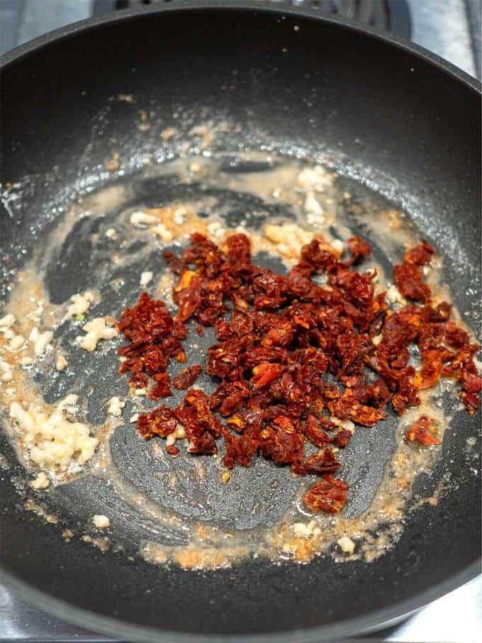 Sun Dried Tomatoes in Pan with Garlic