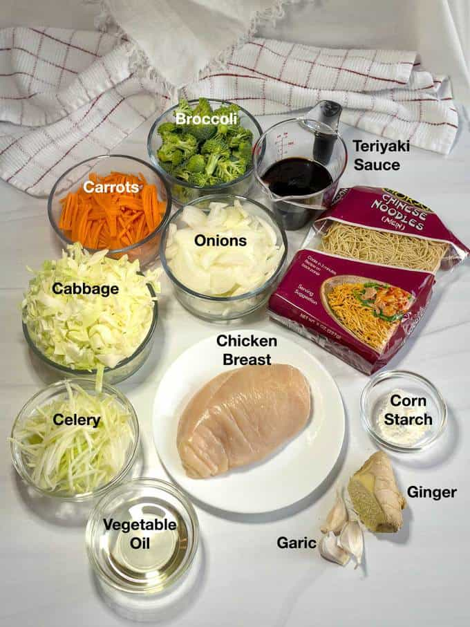 Ingredients for Teriyaki Chicken Chow Mein