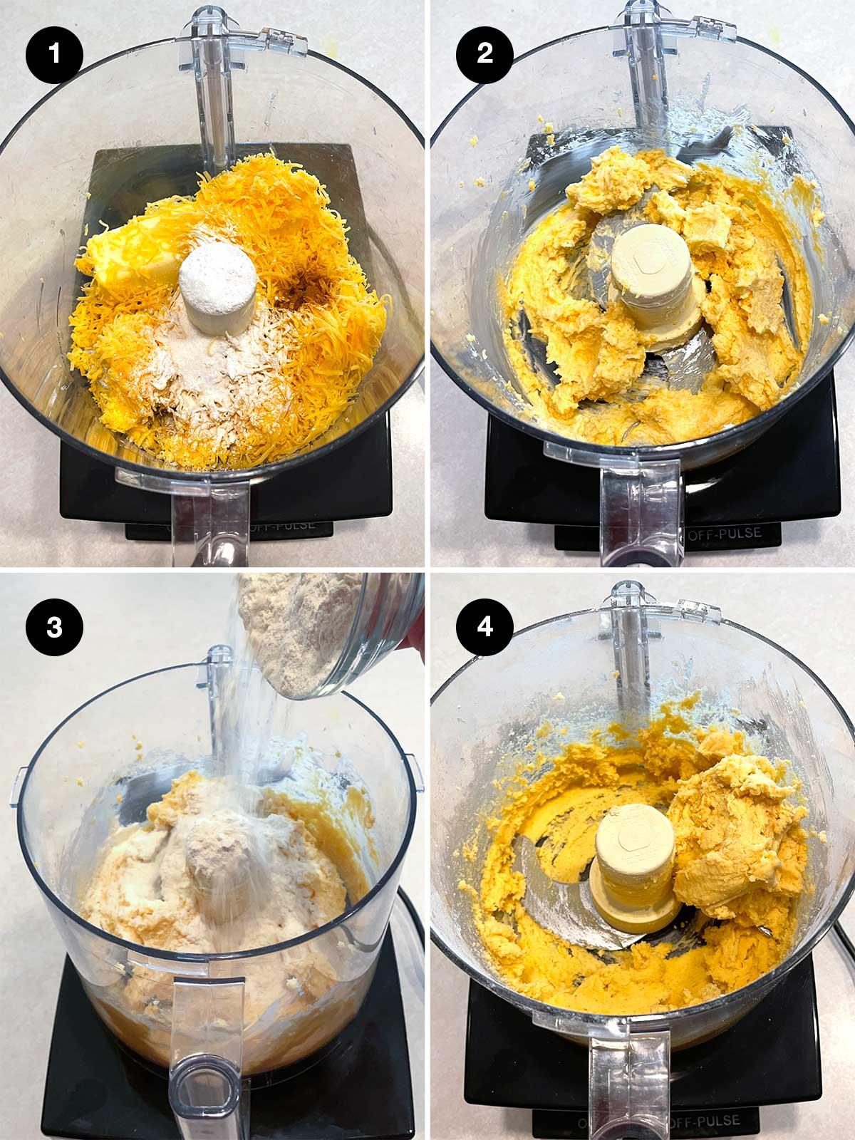 Steps in making the dough in the food processor.