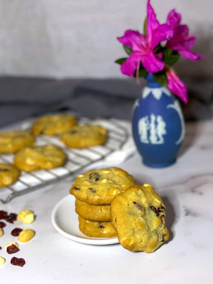 Cranberry with chocolate macadamia nut cookies