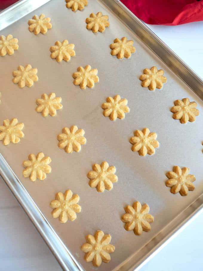 Southern Cheese Spritz Crackers out of the oven