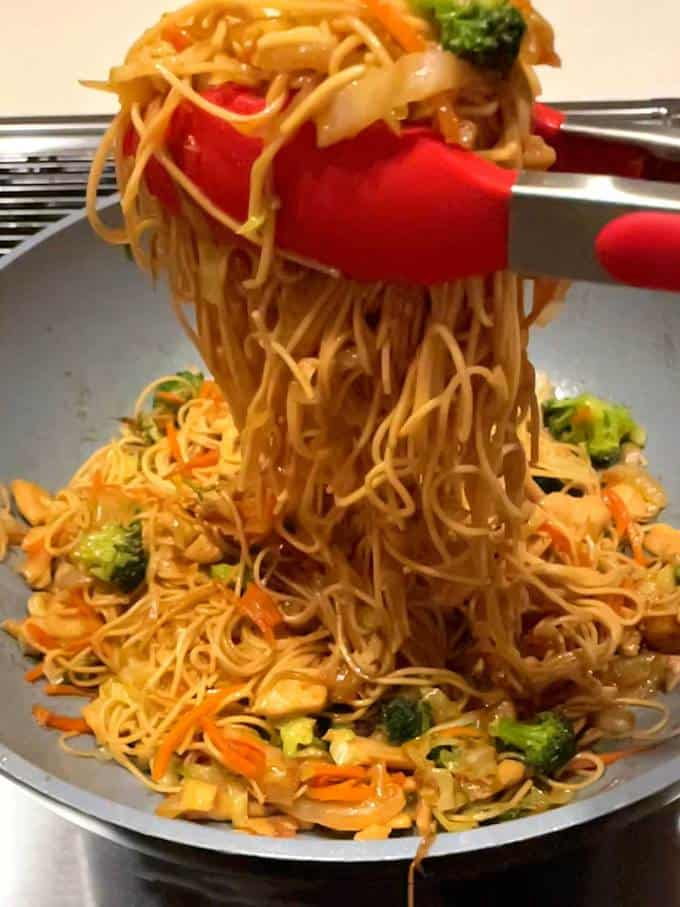 Tossing Chow Mein Ingredients