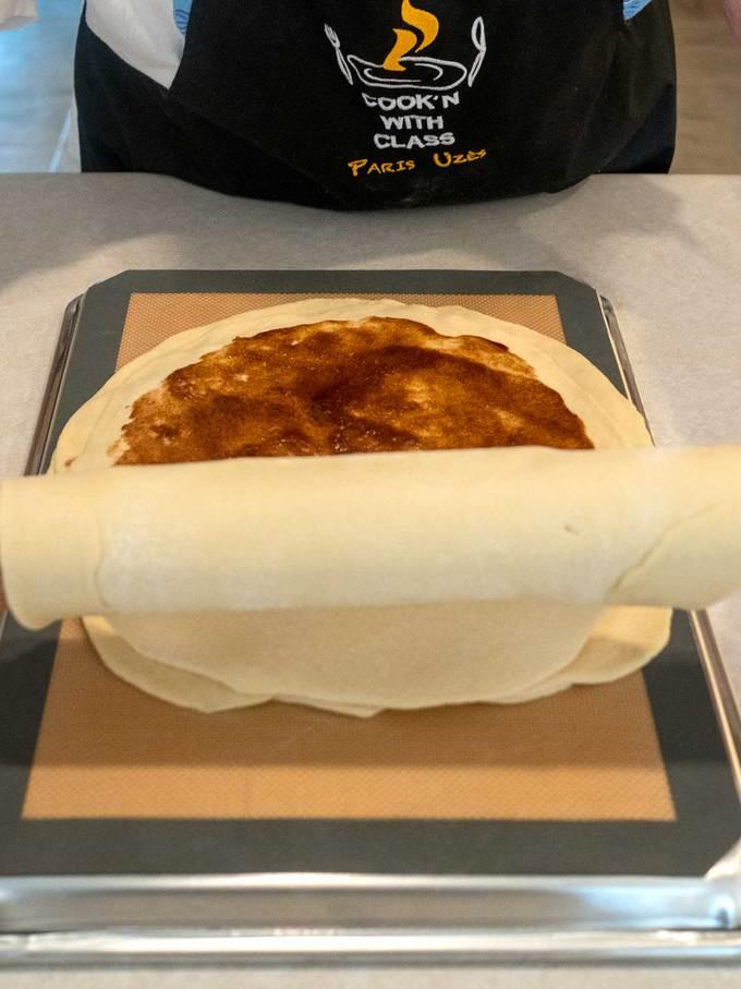 Adding the final dough circle