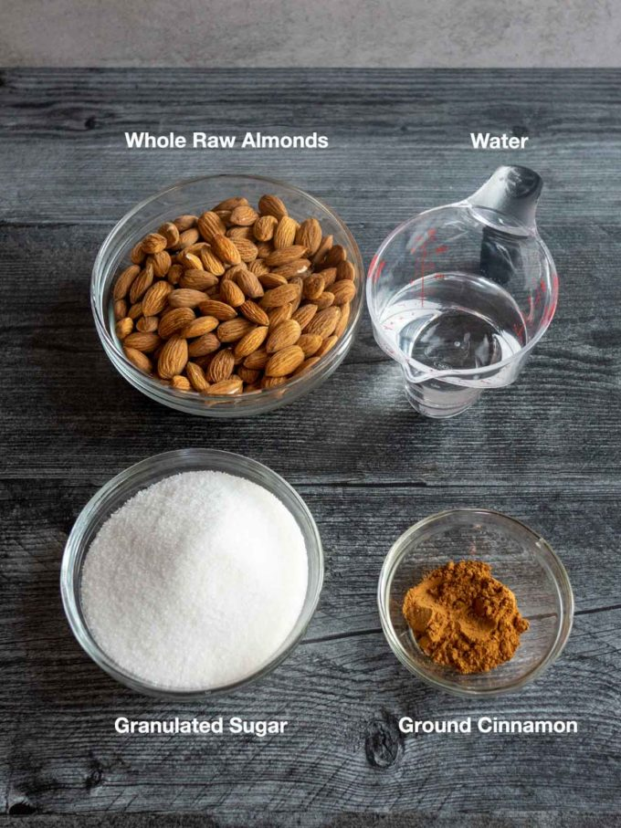 Ingredients for crystalized Almonds