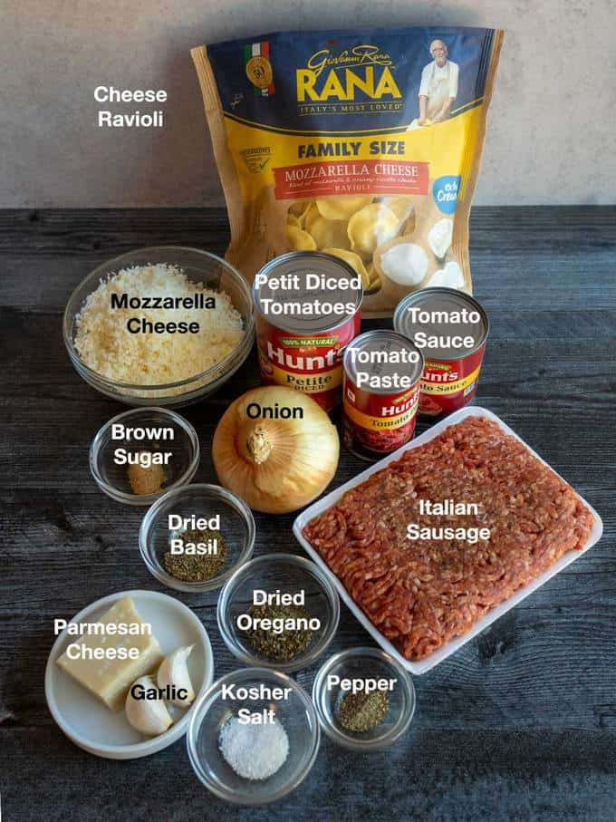 Ingredients for lazy lasagna