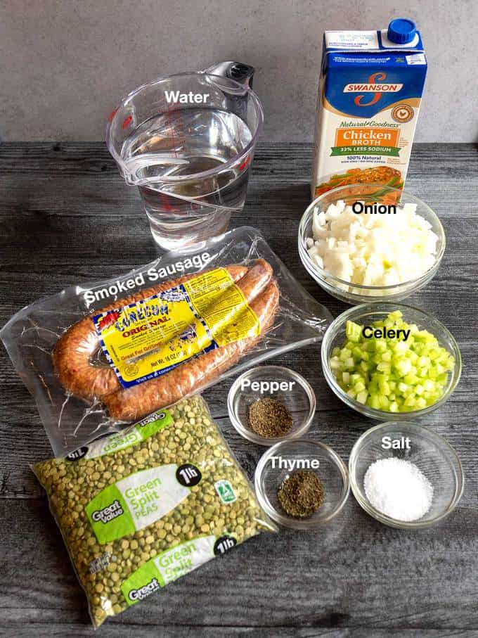 Ingredients that I use for split pea soup