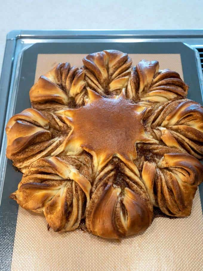 Cinnamon Snowflake Bread out of the oven