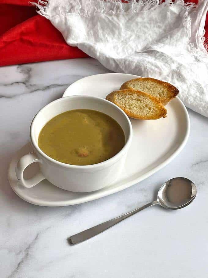 Split pea soup with smoked sausage