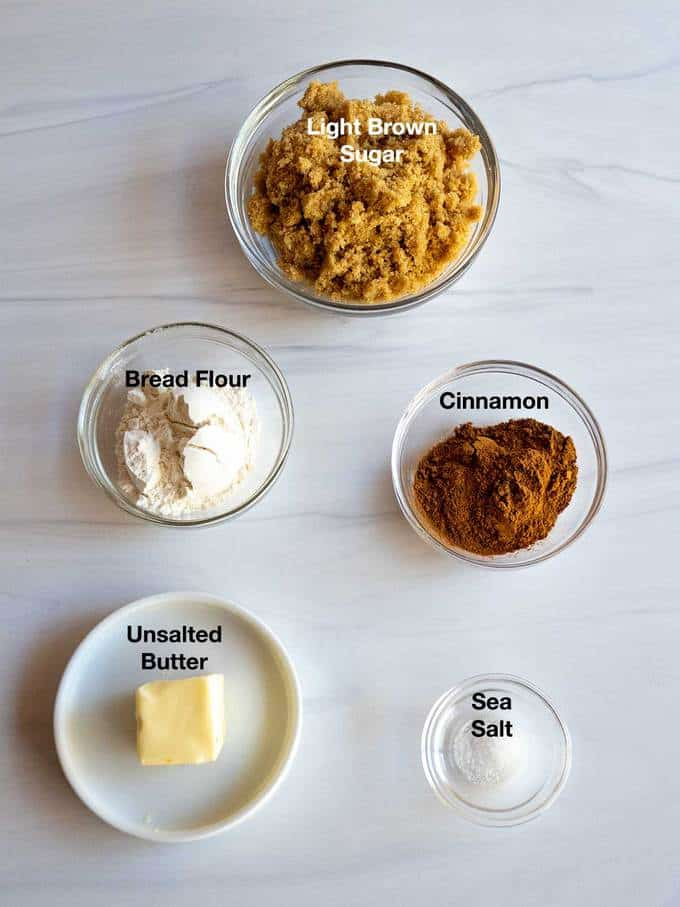Ingredients for cinnamon/sugar filling