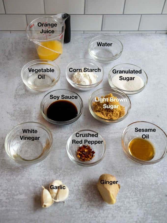 Ingredients for sauce for Orange Chicken