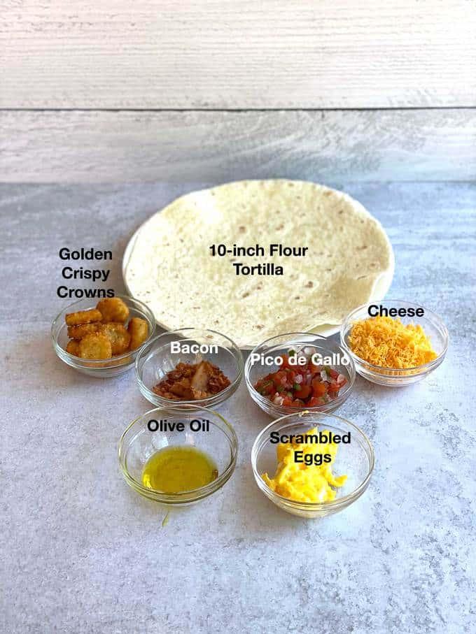 Ingredients for breakfast tortilla