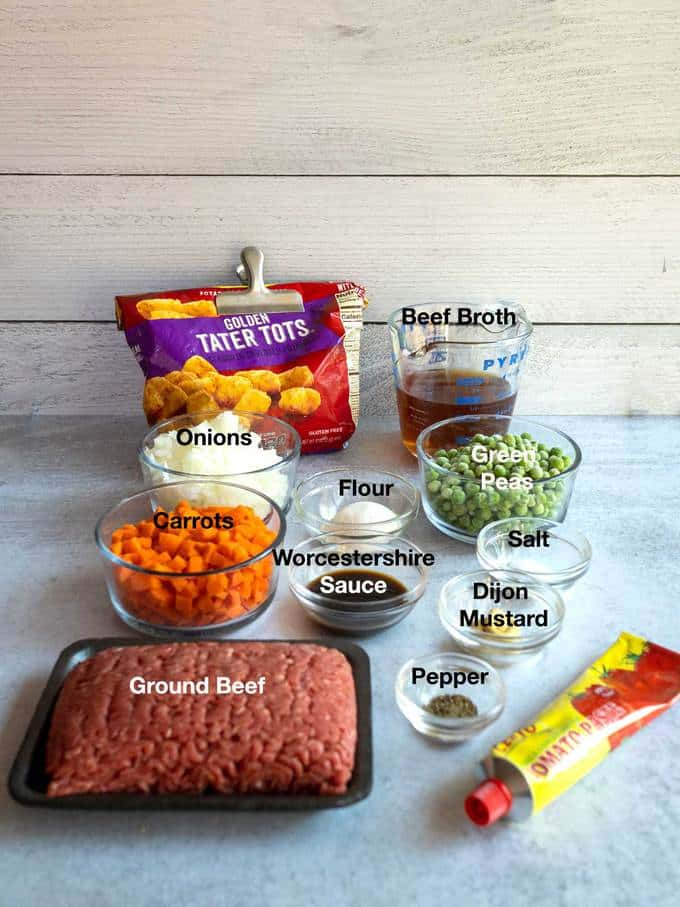 Ingredients for Lazy Tottage Pie