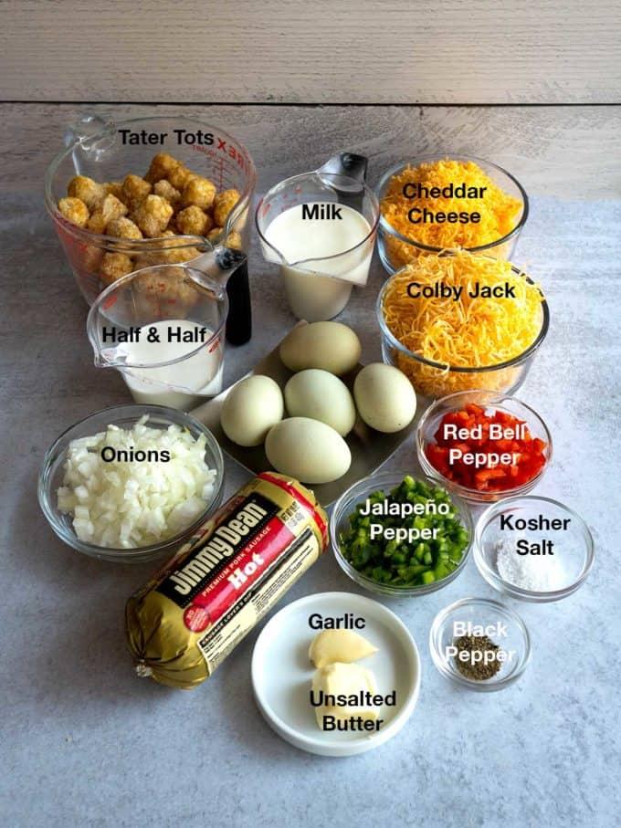Ingredients for Tater Tot Breakfast Casserole.