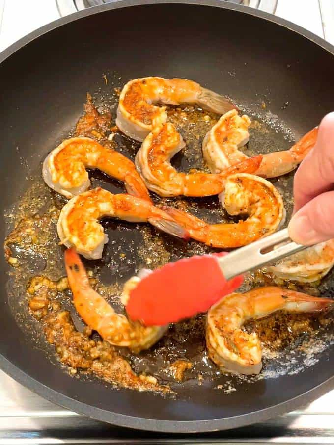 Cooking the shrimp