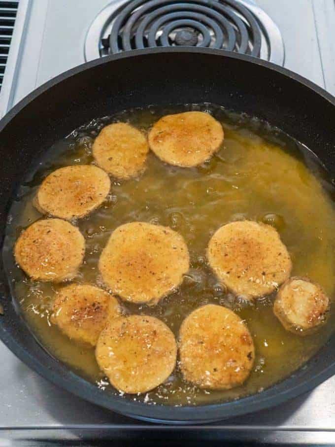 Potatoes frying