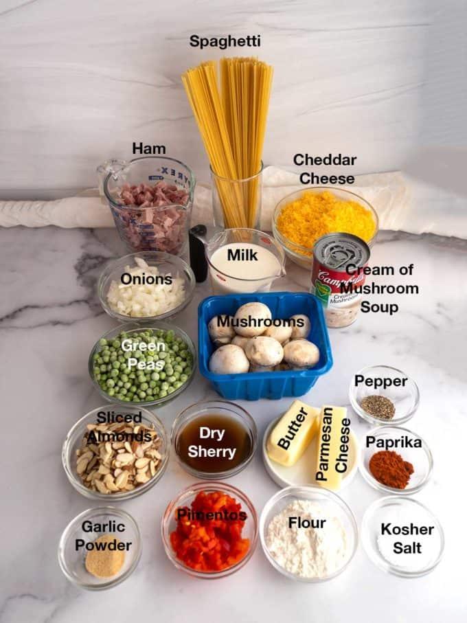 Ingredients for Cheesy Ham Tetrazzini