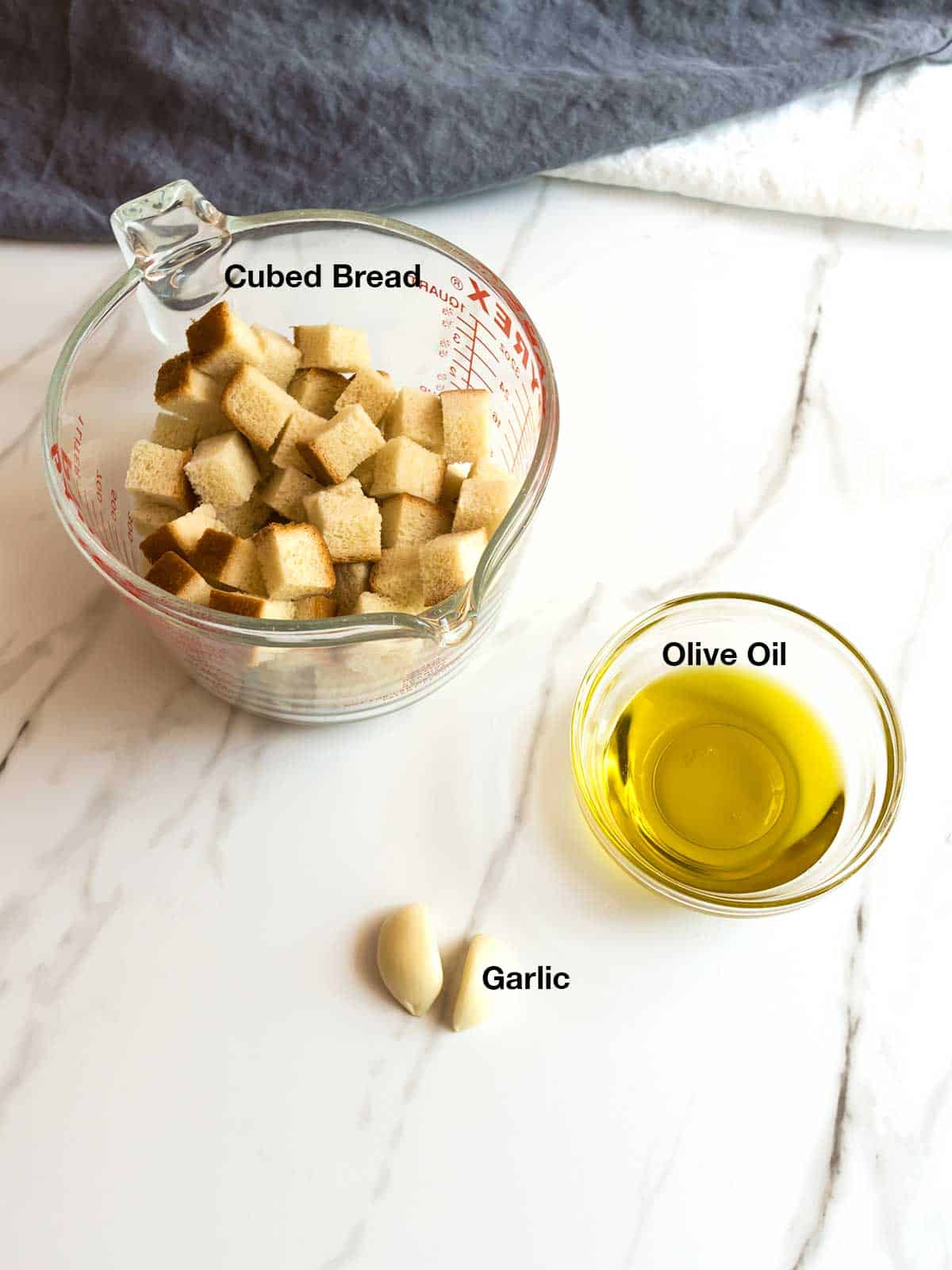 Ingredients for Garlic Croutons